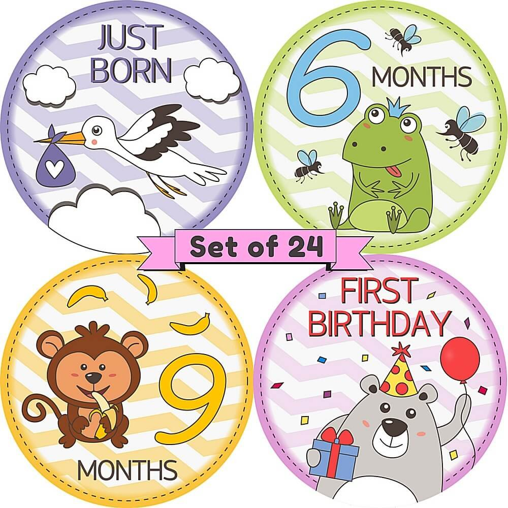 Baby Monthly Milestone Stickers Set of 24 Adorable Belly and Onesie Stickers for Babys First Month Year Major Holidays Life Events Perfect Baby Shower Gift and Keepsake
