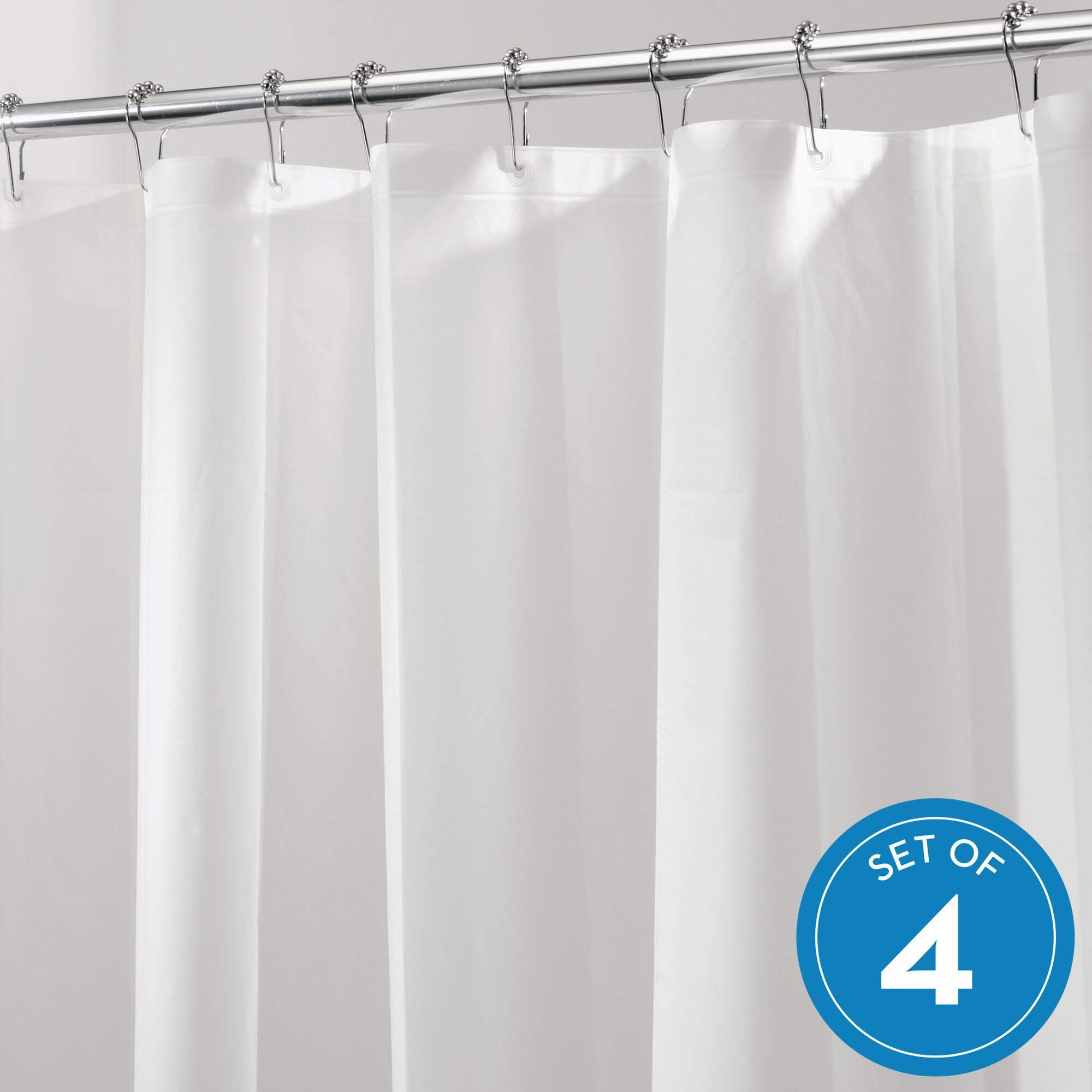 iDesign PEVA hower Liner, Plastic Shower use Alone or with Fabric Curtain-Set of 4, Standard, Frost