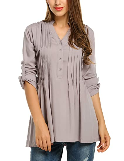 75494ab340c Zeagoo Women's Pleated V-Neck Cuffed Sleeve Half Button Basic Casual Tunic  Tops Gray