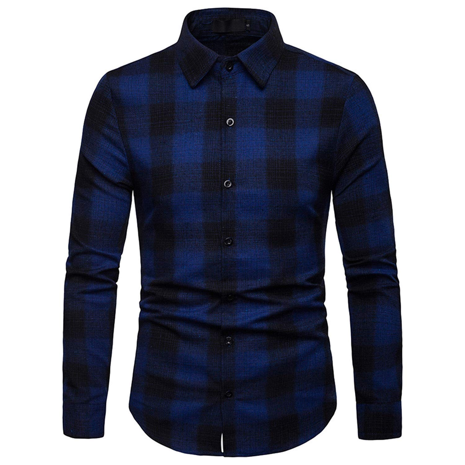 Men 100/% Cotton Spring Autumn Casual Long Sleeve Shirt Soft Comfort Slim Fit Styles Man Clothes,Red,XXL,United States