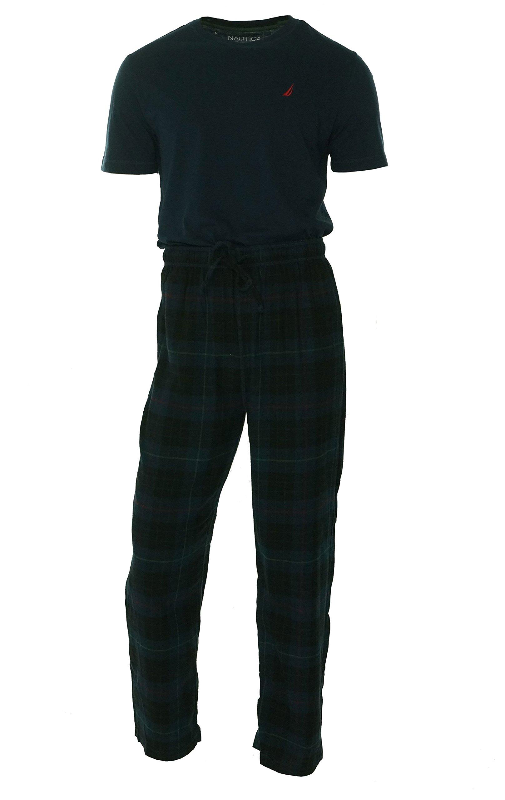 Nautica Men's Pajama Set with Tee Shirt and Tartan Plaid Pant (Small, Maritime Navy)