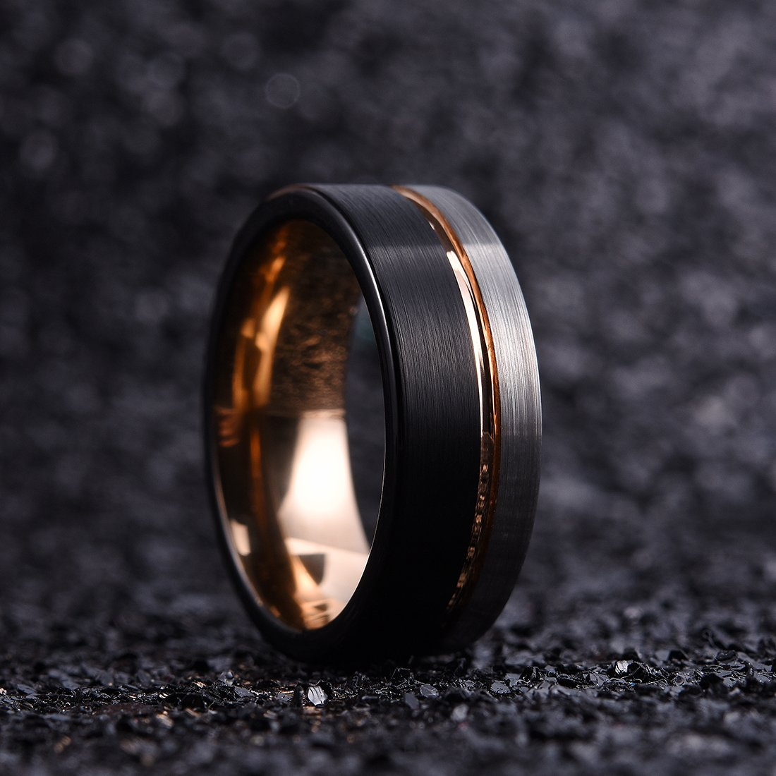 King Will Loop Tungsten Carbide Wedding Band 8mm Rose Gold Line Ring Black and Silver Brushed Comfort Fit10.5 by King Will (Image #2)