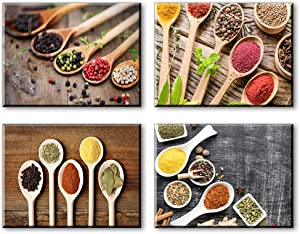 """Kitchen Pictures Wall Decor, SZ Vintage Spice and Spoon Canvas Art Prints, 4 Piece Set Retro Pictures Artwork (Waterproof, 1"""" Thick, Bracket Mounted Ready to Hang)"""