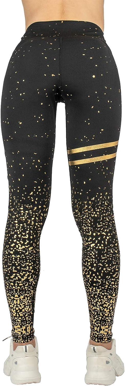 Remebe Pantalones de yoga de cintura alta para mujer Correr Correr Yoga Ejercicio Entrenamiento Gimnasio Deporte Pantalones el/ásticos de l/ámina dorada