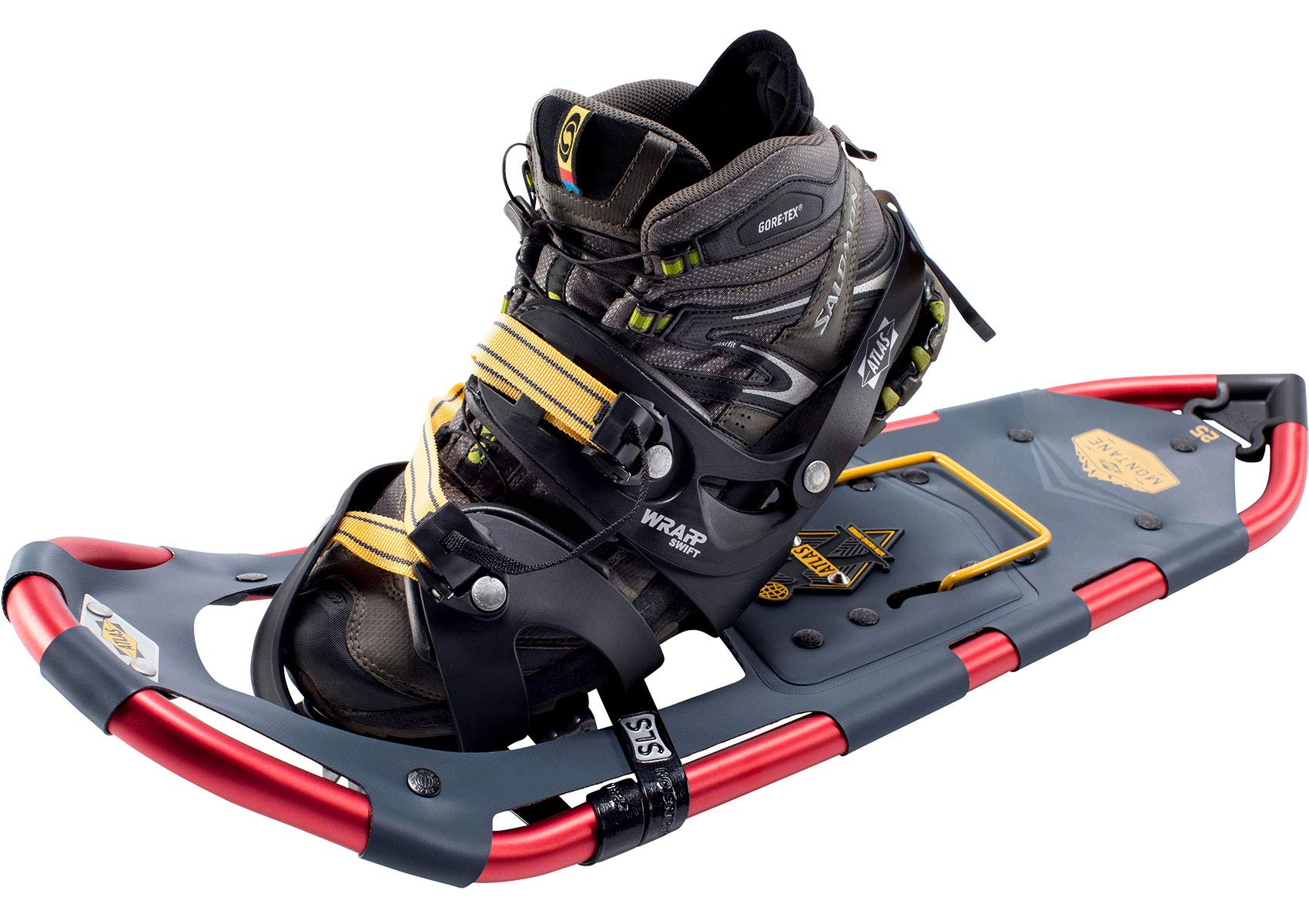 Atlas Snowshoes Company Men's Montane Mountain Hiking Snowshoes, Navy/Red, 25''