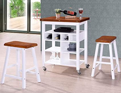 Amazon Com Bar Table And 2 Stools Set Julyfox Wood Counter Height