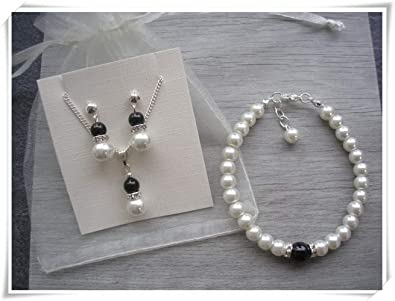 c516eec33 Image Unavailable. Image not available for. Color: Ivory and Black Pearls  with Diamante Necklace, Bracelet,Earrings Jewelry Set.