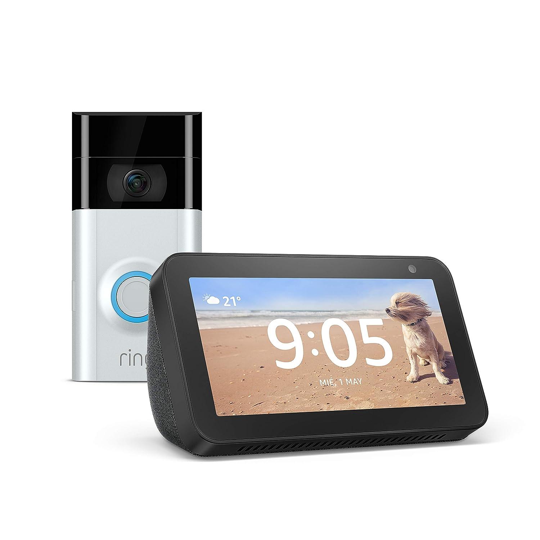 Echo Show 5 (negro) + Ring Video Doorbell 2 | Vídeo HD 1080p, comunicación bidireccional, detección de movimiento, conexión wifi