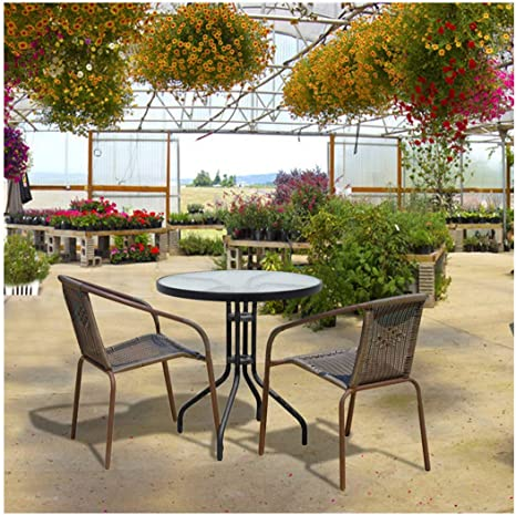 Party Event Furniture Conversation Coffee Table for Backyard Lawn Balcony Pool Outdoor Patio Square Dining Table with Toughened Glass Top
