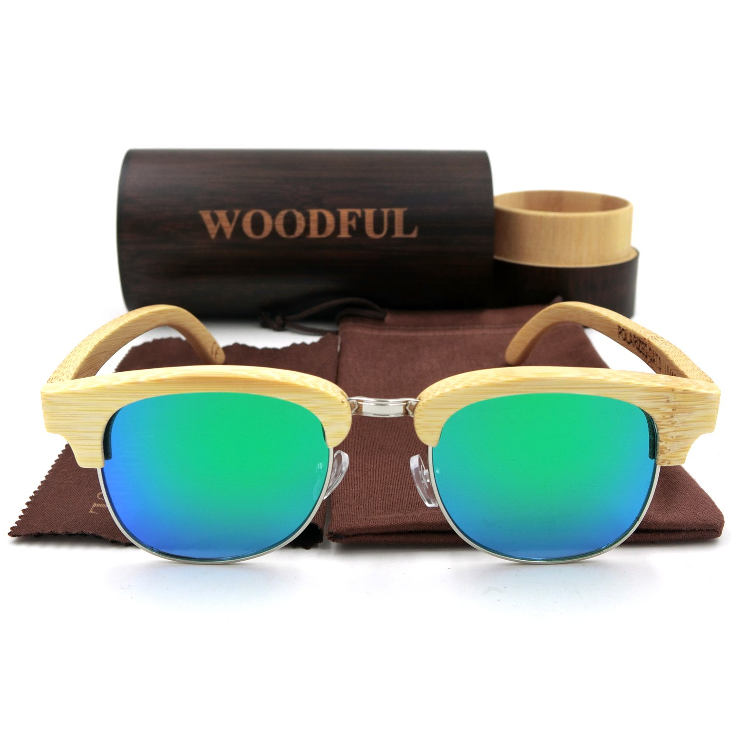 Men Glasses Wood Bamboo Frame with Sunglasses Case