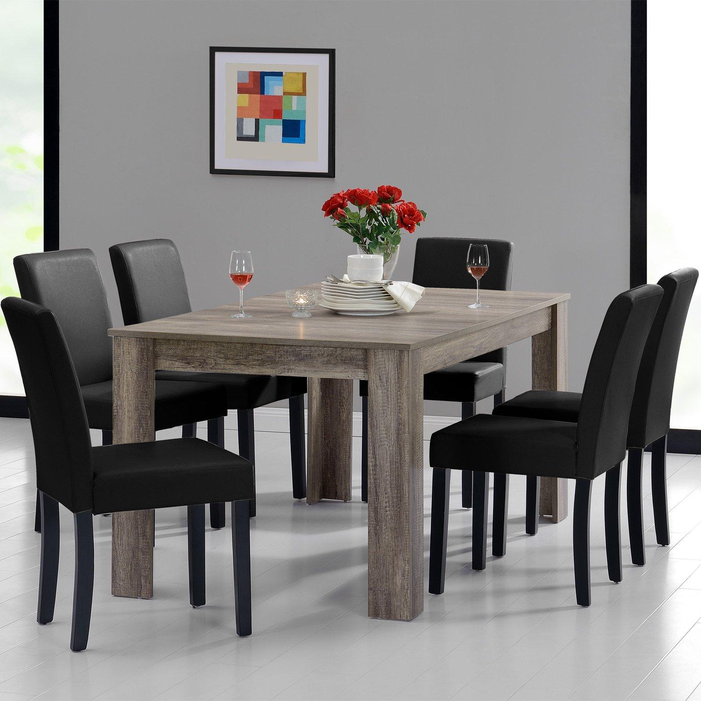 en.casa] Esstisch und Stuhlset Oslo (Antik - 160x90) 6 Stühle ...