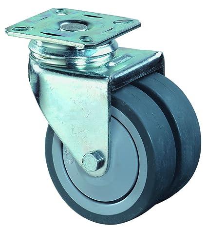 BS ruedas de doble rueda giratoria con atornillar-rodamientos de bolas, rueda de goma