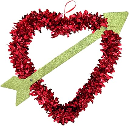 Amazon Com Red Tinsel Heart With Gold Glittered Cupids Arrow Hanging Valentines Decoration 12 Inch Toys Games