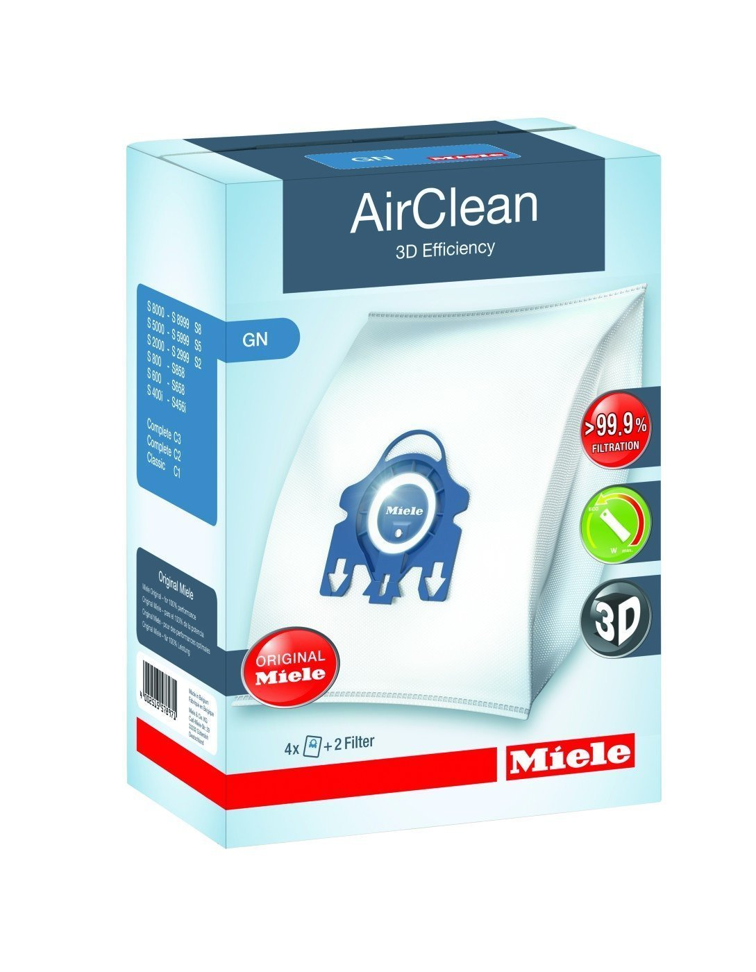 Miele 10123210 AirClean 3D Efficiency Dust Bag, Type GN, 4 Bags & 2 Filters by Miele