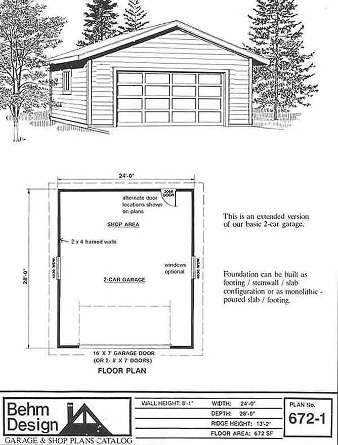 Amazon Garage Plans 2 Car Garage Plan 6721 24 x 28 two – 28 X 24 Garage Plans