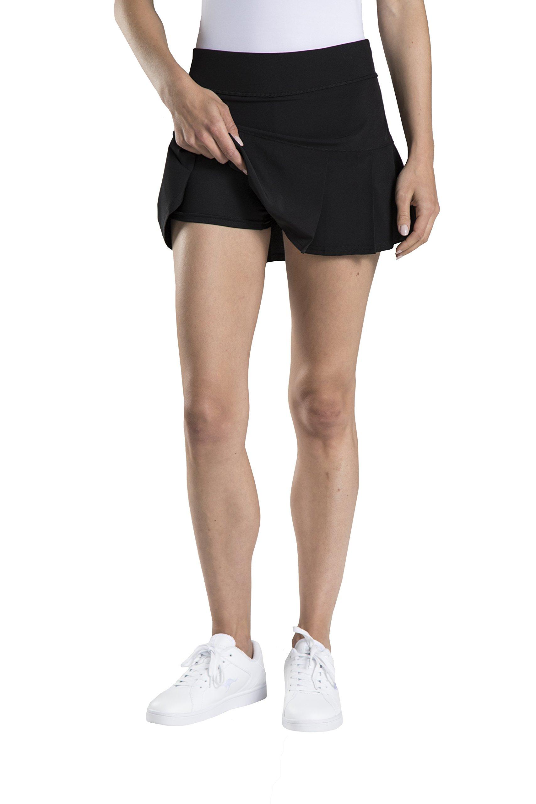 Etonic Women's Stretch Woven Tennis Skort, Black, X-Small