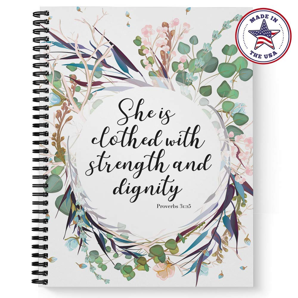 Softcover Clothed With Strength 8.5'' x 11'' Religious Spiral Notebook/Journal, 120 College Ruled Pages, Durable Gloss Laminated Cover, Black Wire-o Spiral. Made in the USA
