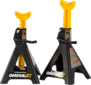Omega Lift 32128 Heavy Duty 12 Ton Jack Stands Pair - Double Locking Pins - Handle Lock and Mobility Pin for Auto Repair Shop with Extra Safety