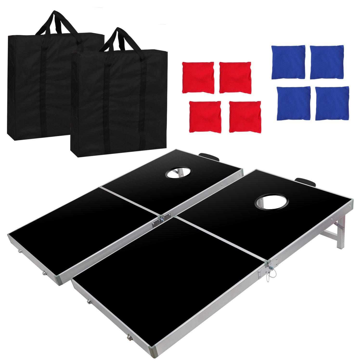 Smartxchoices Folding Bean Bag Cornhole Toss Game Set 8 Bean Bags Aluminum Frame, Travel Carrying Case Game Rulers (4ft x 2ft)