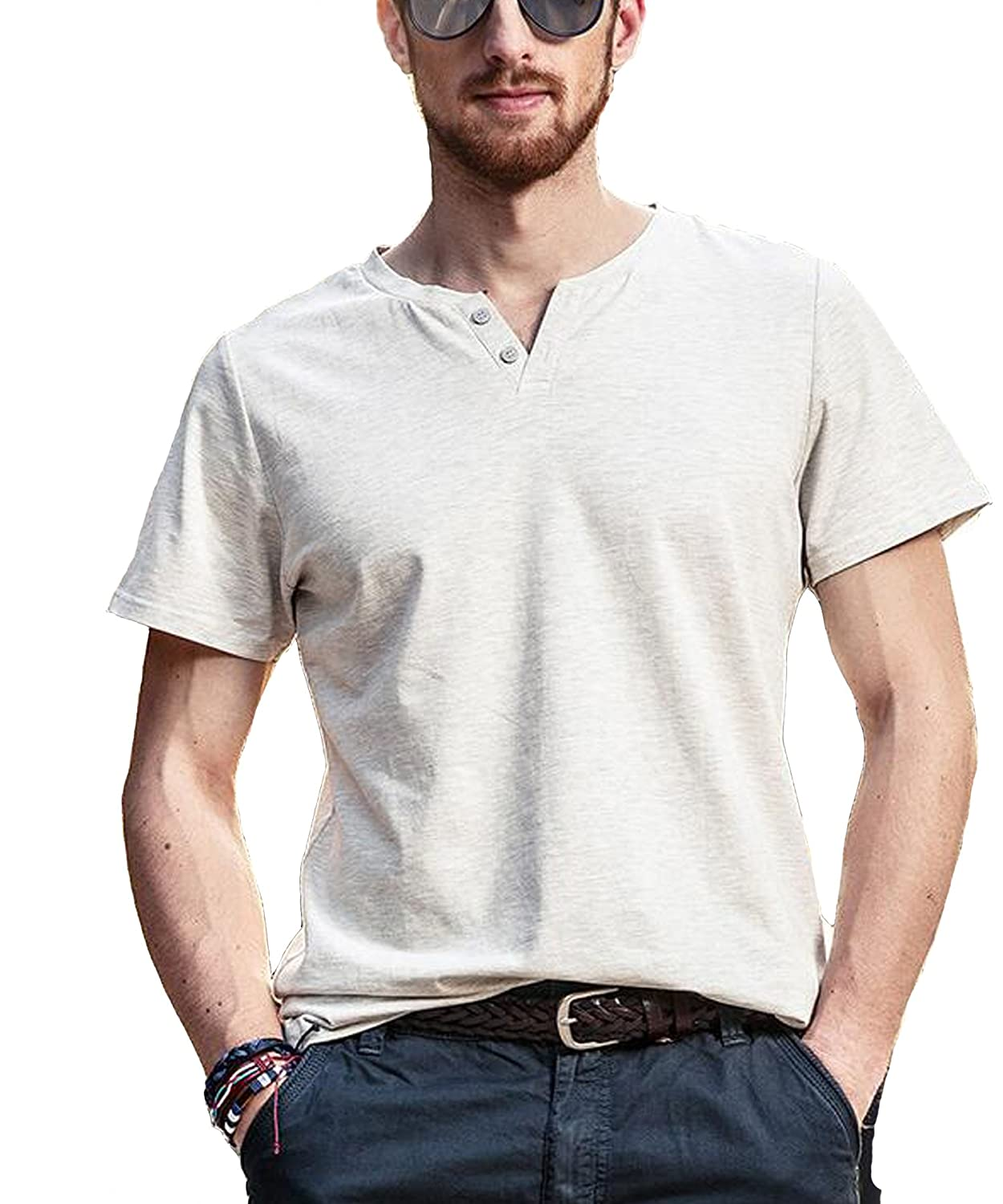 Holyrising Men T-Shirts Summer Casual V-Neck Button Short Sleeve Tees
