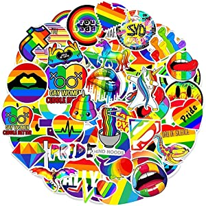 100 Pcs Gay Pride Stickers Bright Rainbow Stickers LGBTQ Stickers Pack Vinyl Waterproof Stickers for Car Laptop DIY Water Bottle Scooter Skateboard Guitar Cellphone Bike Luggage Furniture Motorcycle