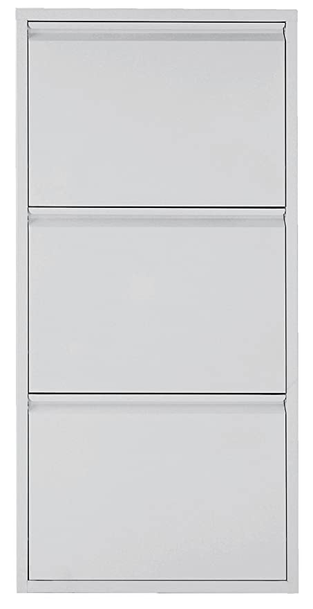 Premier Housewares 3 Drawer Metal Shoe Cabinet, 103 X 50 X 15 Cm   White