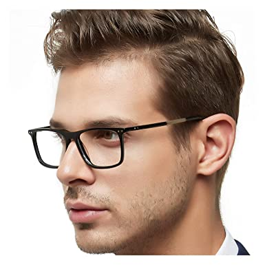 8fa73535c59 OCCI CHIARI Optical Eyewear Non-prescription Eyeglasses Frame Clear Lenses  For Men(Black 53mm