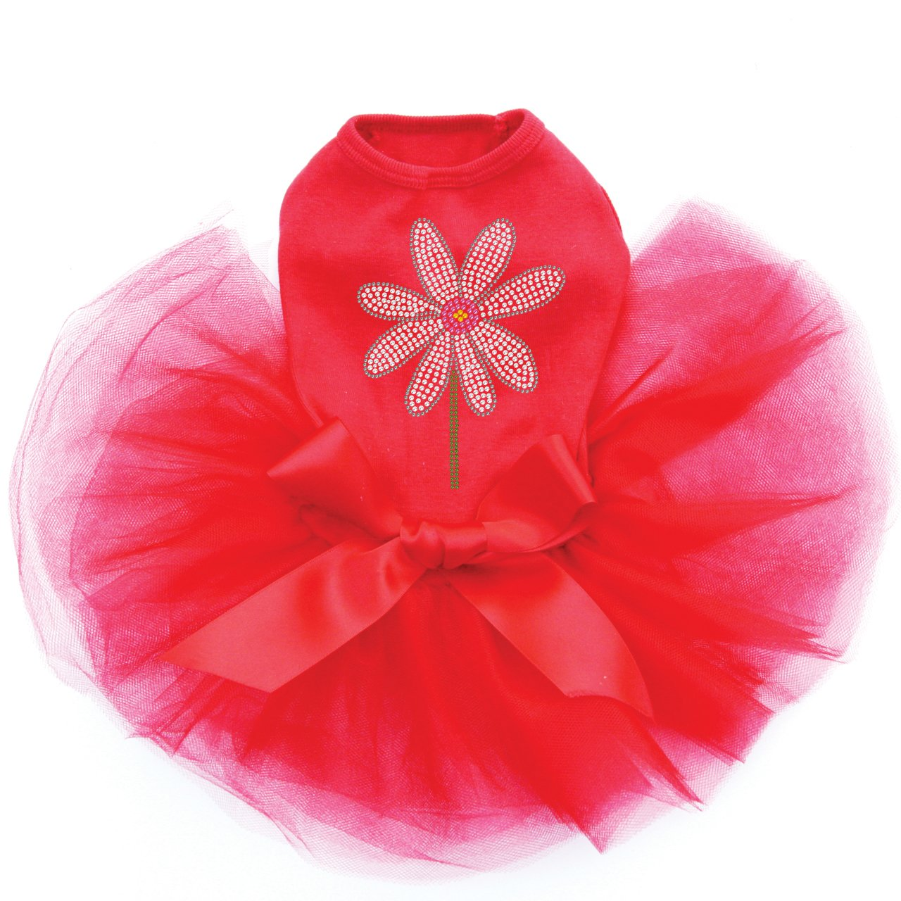 Daisy with Pink Center - Bling Rhinestone Dog Tutu Dress, 3XL Red by Dog in the Closet