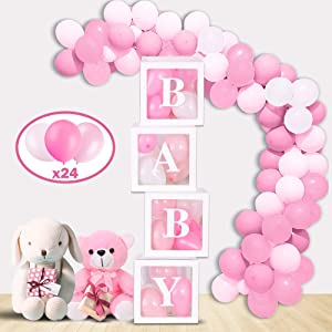Mint & Elm Baby Shower Decorations for Girls and Boys, Clear Boxes with Balloons, Birthday Decorations, Gender Reveal Box for Balloons, 37 Pieces (Pink)