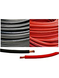 1/0 Gauge 1/0 AWG 10 Feet Black + 10 Feet Red Welding Battery Pure Copper Flexible Cable Wire - Car, Inverter, RV, Solar