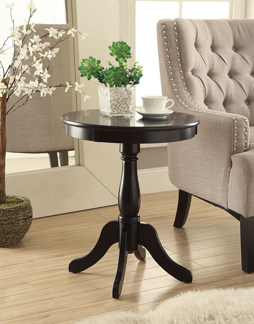 Black Finish Wooden Round Chair Side End Table 18 Diameter