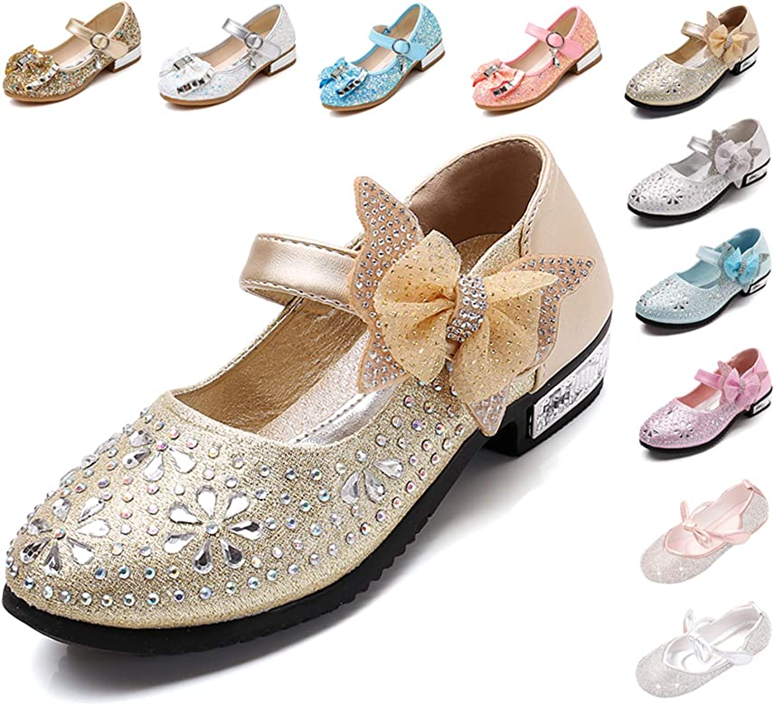 YING LAN Girls Wedding Princess Party Dress Lace Cute Flower Flat Mary Janes Shoes