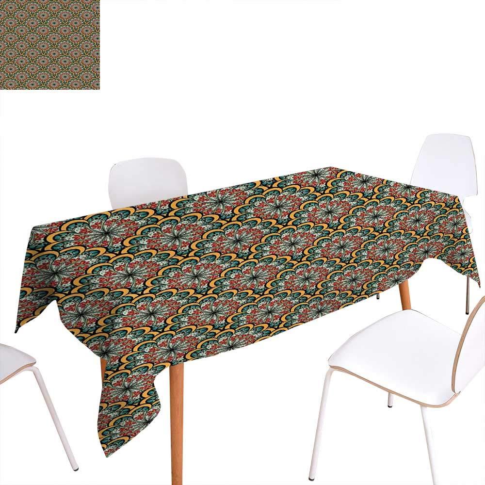 familytaste マンダラ ディナー ピクニックテーブルクロス エスニック 花柄 抽象的 装飾パターン オールドファッション ボヘミアン 民族風アート 防水 テーブルカバー キッチン マルチカラー W60
