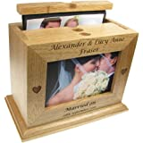 De Walden Wedding Gift, Engraved Oak Wedding Photo Box Album (photo size formats of up to 100x150mm), Newly Wed Gifts