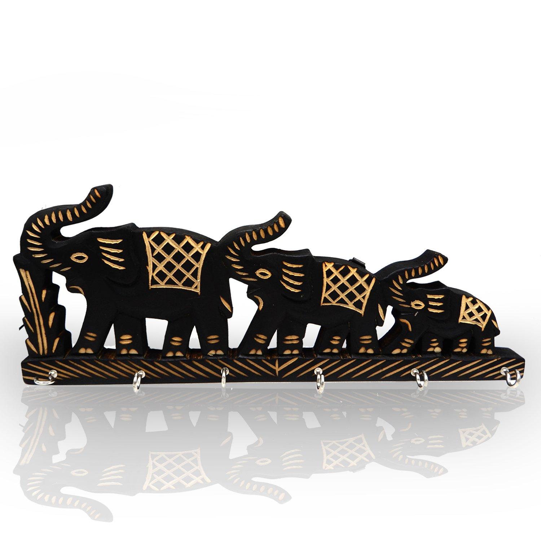 WhopperIndia Handcrafted Decorative Three Elephant Wooden Key Holder Key Hanger with 6 Key Hooks Key Organizer for Home & Office 13.5 Inch