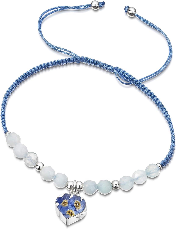 Shrieking Violet® - Pulsera de piedras preciosas de color azul claro con cuentas de aguamarina - Corazón de plata de ley con flores reales olvidables - Talla única