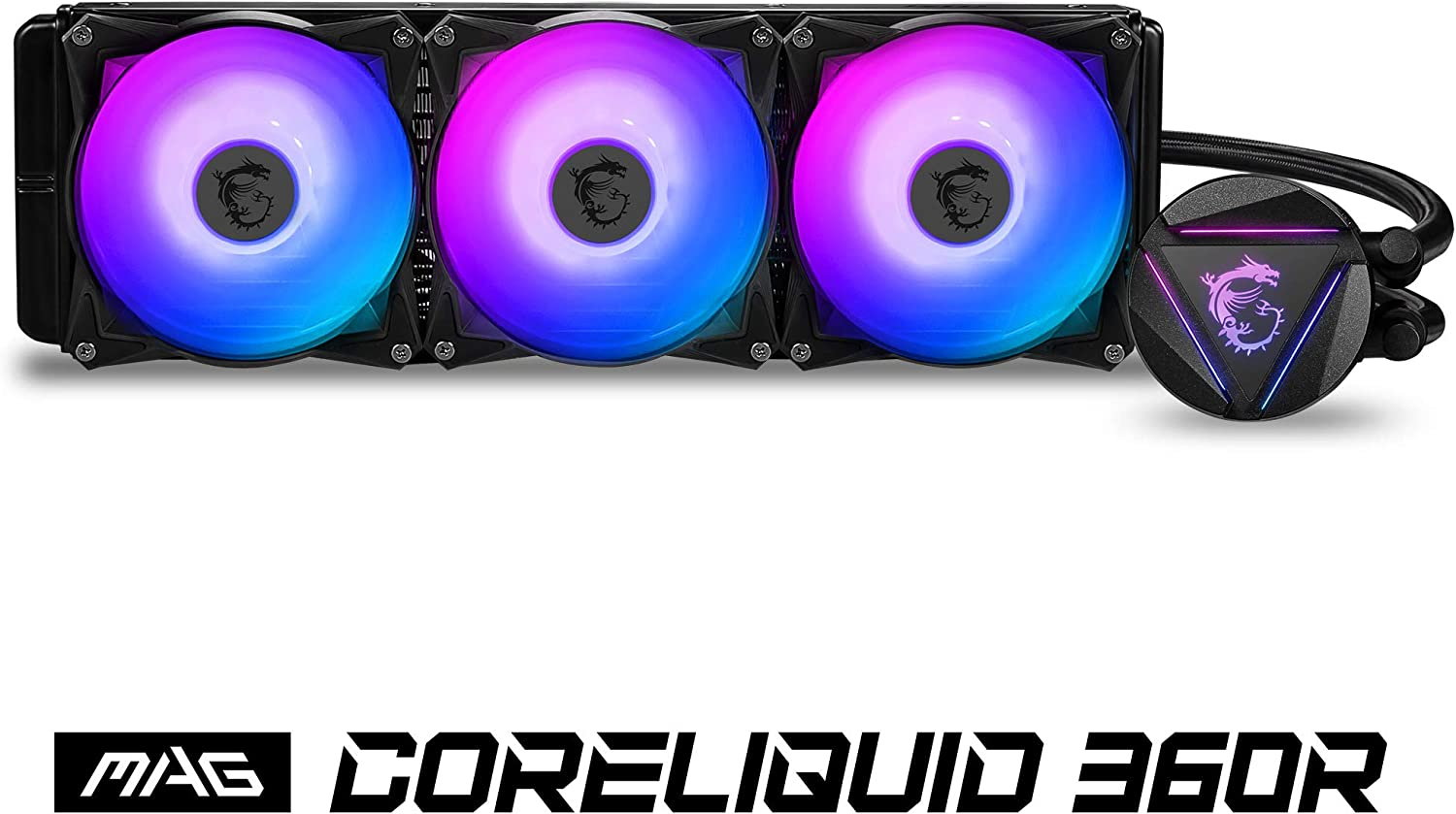 MSI MAG CORELIQUID 360R CPU AIO Cooler ' 360mm Radiator, 3X 120mm ARGB PWM Fan, Adjustable ARGB MSI Dragon CPU Mount, Compatible with Intel and AMD Platforms'