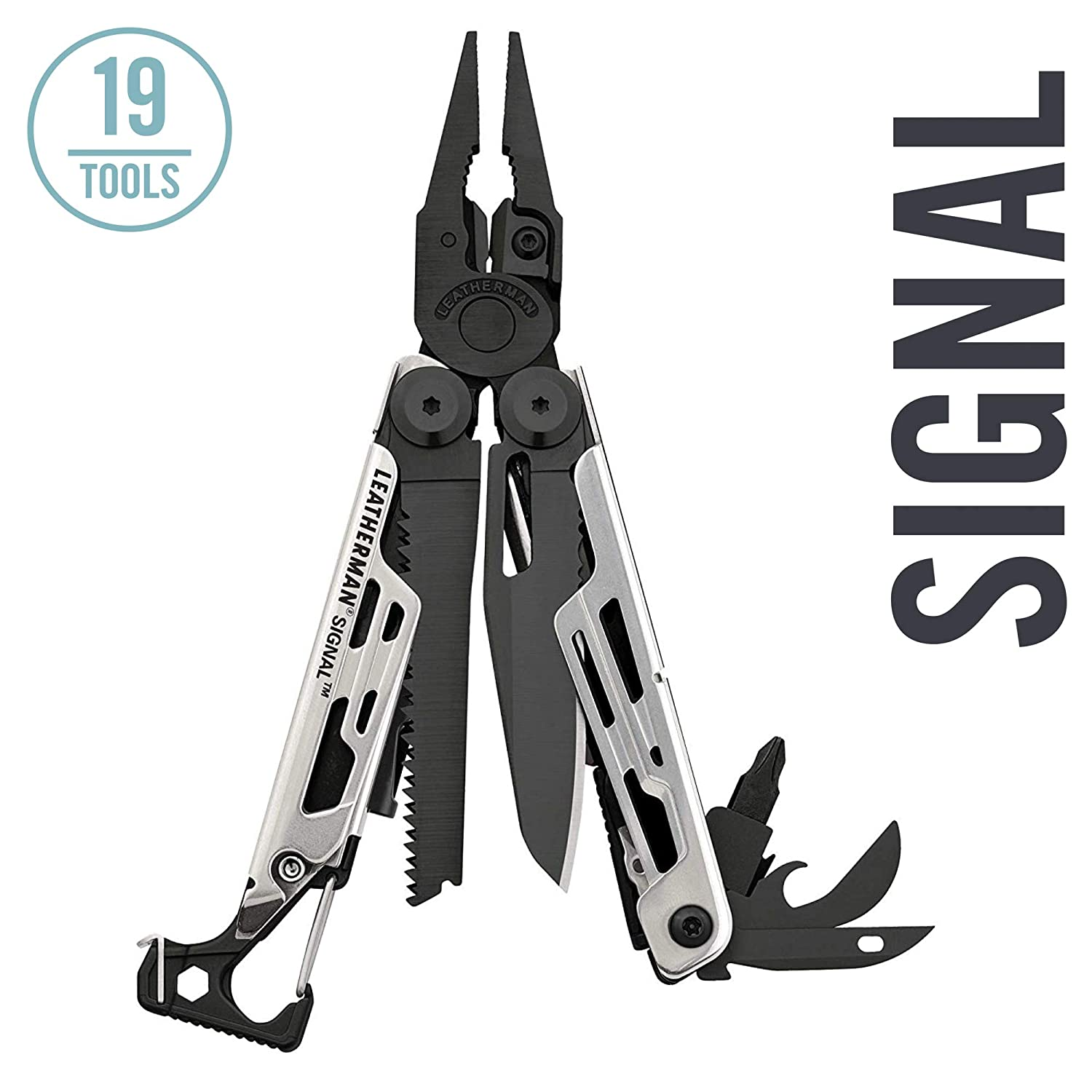 LEATHERMAN – Signal Camping Multitool with Fire Starter, Hammer, and Emergency Whistle, Limited Edition Black Silver