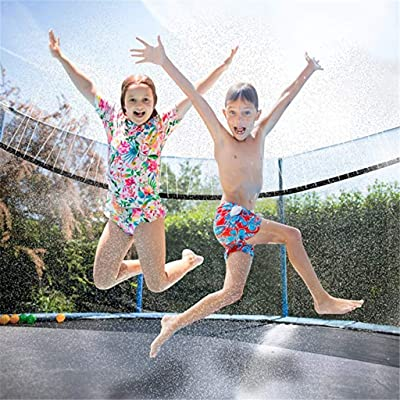 Karamoda Sprinkler Hose for Kids Trampoline Outdoor Water Toys, Durable Long Sprinkler Spray Tube, Rotating Sprinkler Waterpark Water Games, Easy to Control Flow Water: Garden & Outdoor