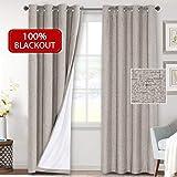 "H.VERSAILTEX 100% Blackout Linen Look Blackout Curtains for Bedroom/Living Room, Anti Rust Grommet Window Curtain Panels, 2 Panels 52""W x 84""L Beige PART-HVTC-5284-C11TAUPE-N"