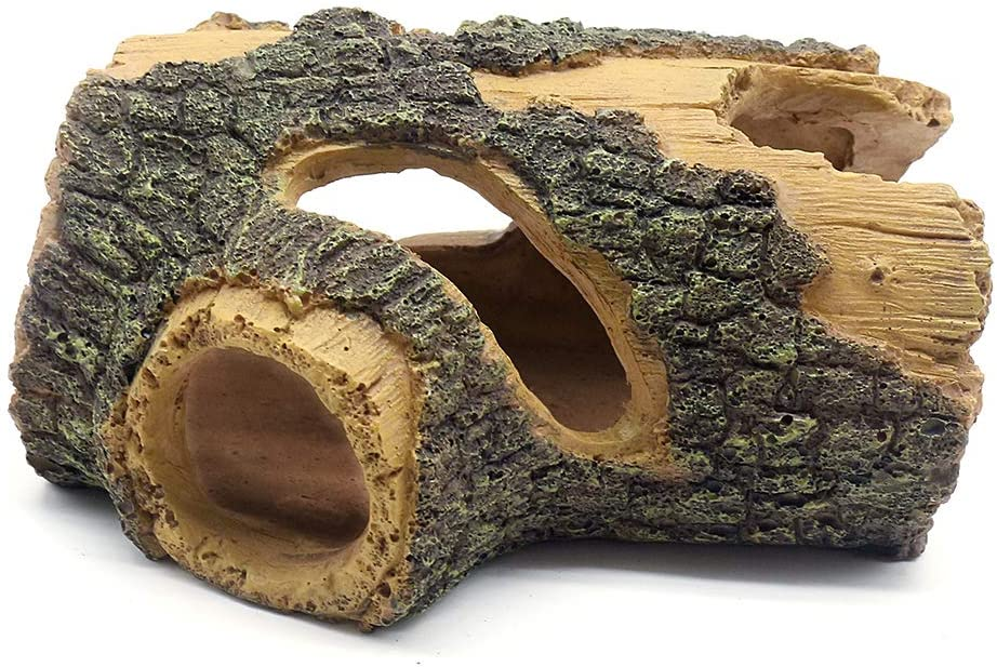 Aihotim Log Resin Hollow Tree Trunk Ornament, Fish Tank Decoration Wood House Aquarium Hideout Caves Decorations for Betta, Turtles, Small Lizards, Reptiles, Amphibians up to 20 Gallon Tank