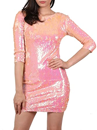 17eb0011 PILOT® Women's 3/4 Sleeve Iridescent Sequin Bodycon Dress in Pink:  Amazon.co.uk: Clothing