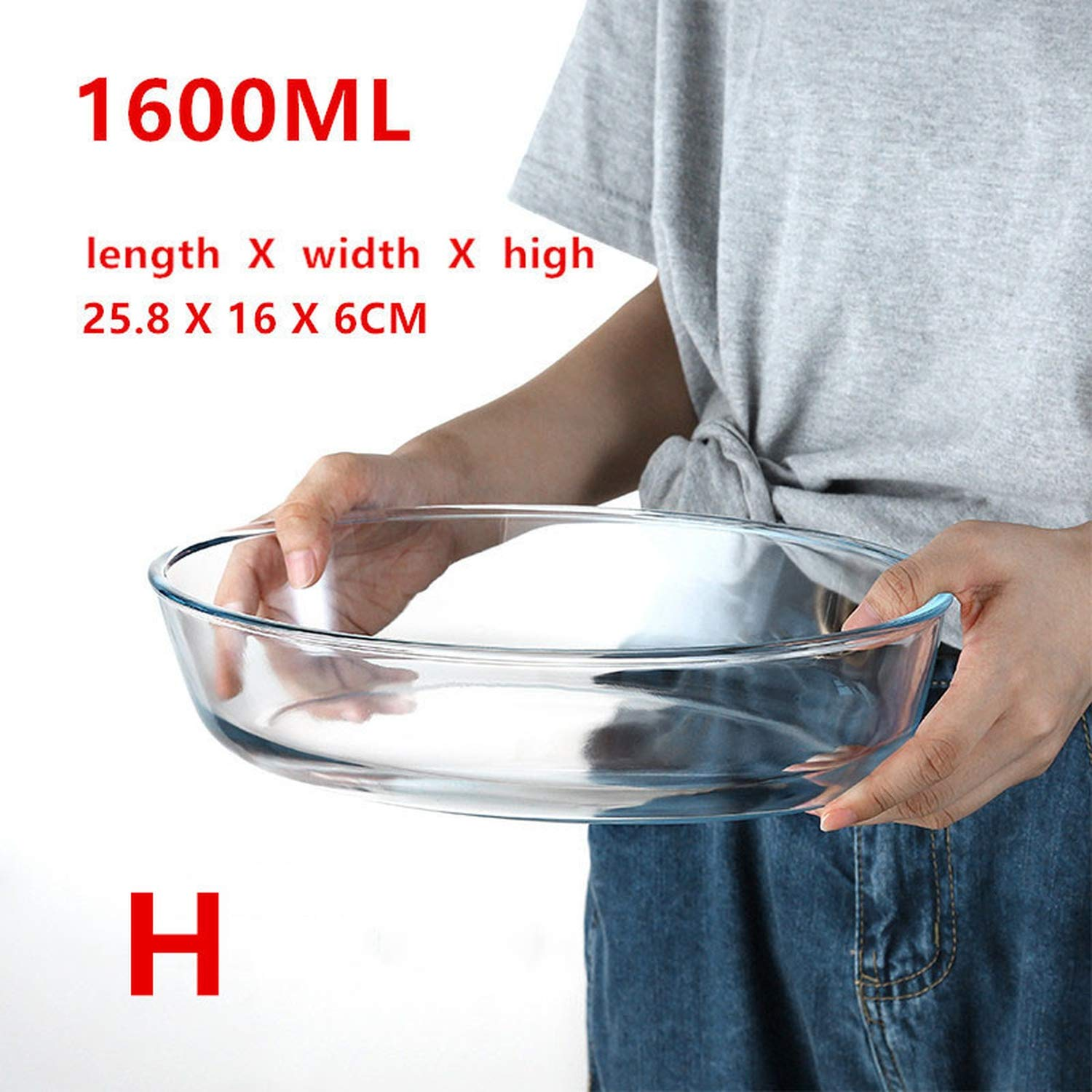 Large Capacity Clear Toughened Glass Baking Dish Pan Oven Bakeware Non Stick Kitchen Tool,H