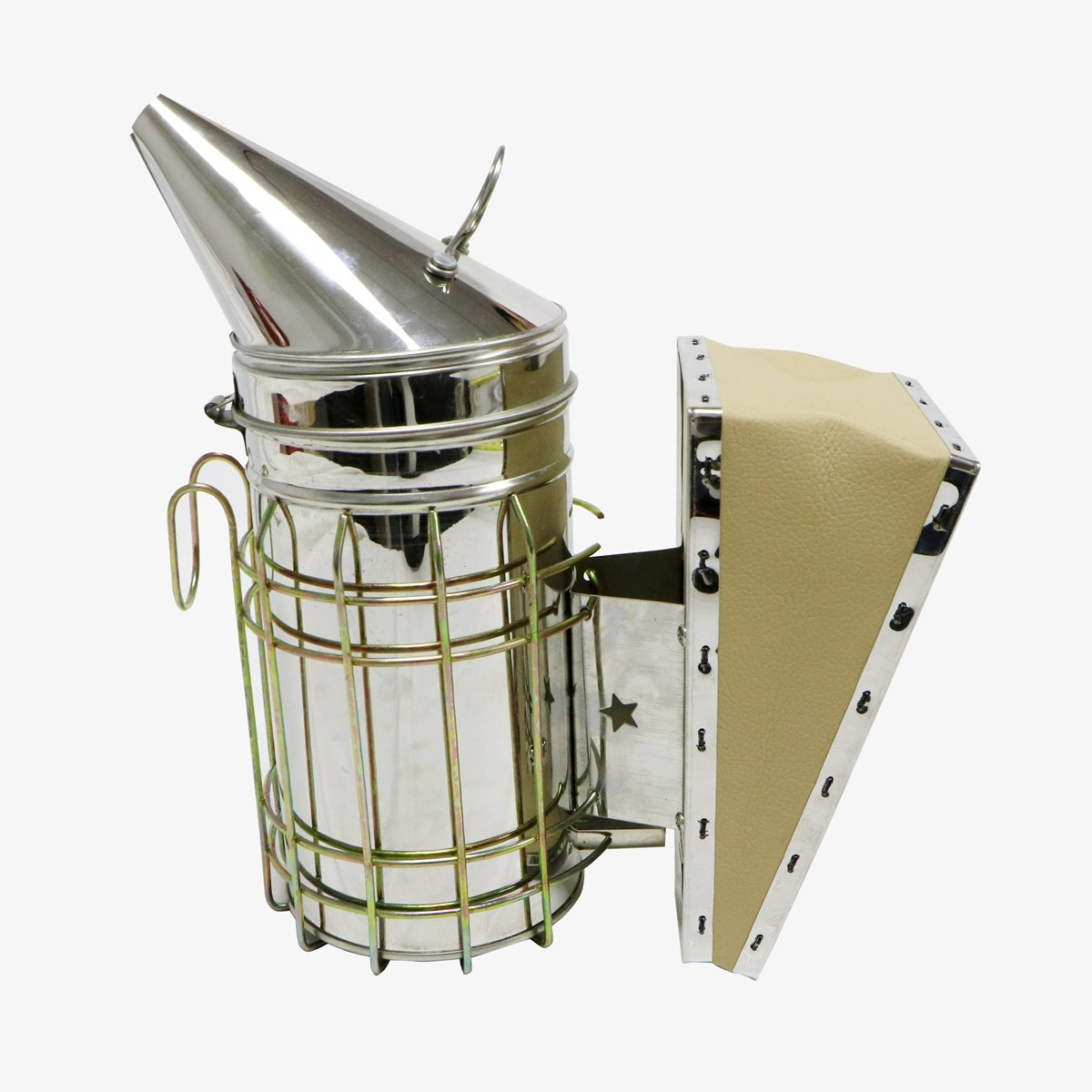 Beefun Bee Hive Stainless Steel Smoker Beekeeping Equipment with Heat Shield Protection (Leather)