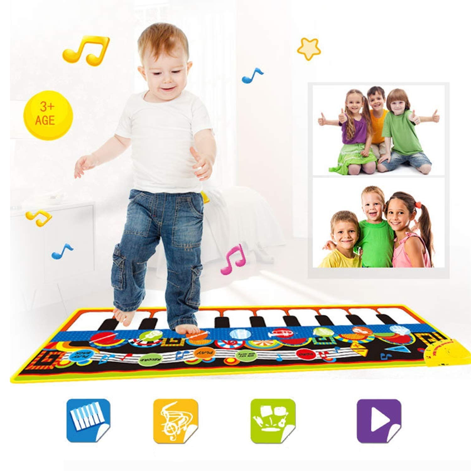 LGZW Baby Play Mat, Children's Play Mat Electronic Piano Music Crawling Blanket Early Education Toy Mat, Educational Toy Area Carpet by LGZW (Image #2)