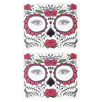 Lurrose 10pcs Halloween cara tatuaje pegatina esqueleto rosas día ...