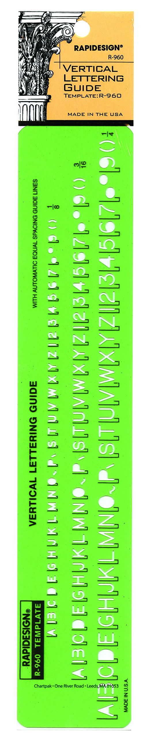 Rapidesign Gothic Vertical Letter and Number Template - 1/8, 3/16, 1/4 Inch Sizes, 1 Each (R960)