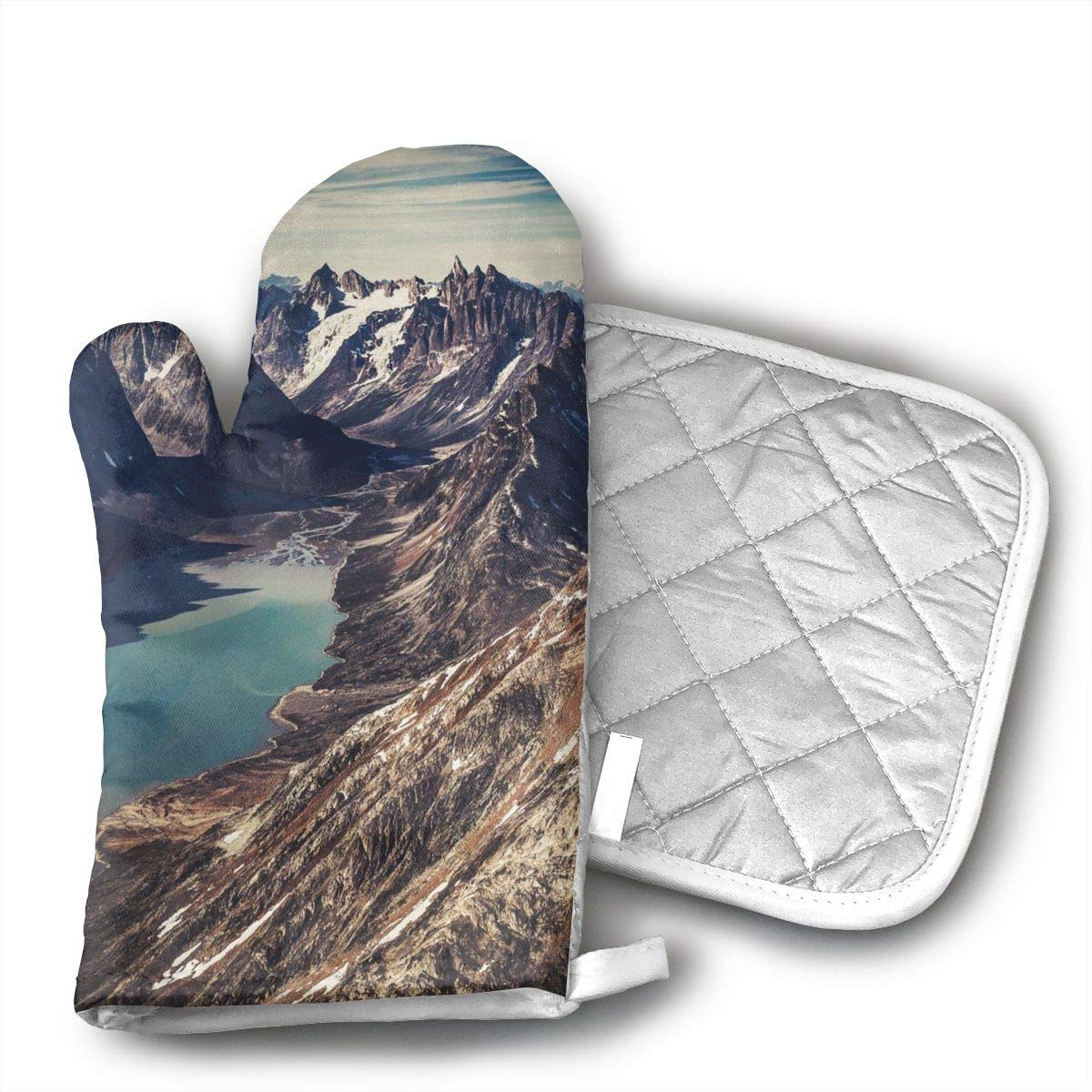 UYRHFS Grand Canyon Oven Mitts and Pot Holder Kitchen Set with, Heat Resistant, Oven Gloves and Pot Holders 2pcs Set for BBQ Cooking Baking