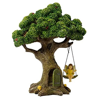 Marshall Home and Garden Tree With Swinging Fairy Forest Brown 9 Inch Resin Stone Outdoor Statue : Garden & Outdoor
