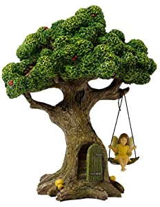 Marshall Home and Garden Tree With Swinging Fairy Forest Brown 9 Inch Resin Stone Outdoor Statue
